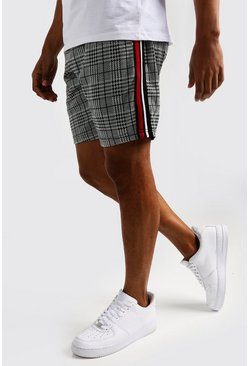 Mens Black Check Jacquard Tape Detail Mid Short