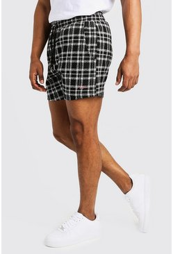 Mens Black Check Jacquard MAN Signature Short Length Short