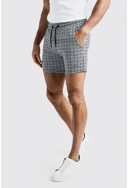 Mens Black Gingham Short Length MAN Jersey Short