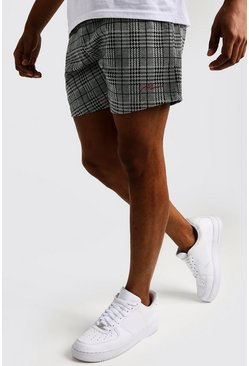 Mens Black Check Jacquard MAN Signature Short Shorts
