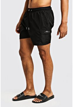 Mens Black Mid Length Cargo MAN Swim Shorts