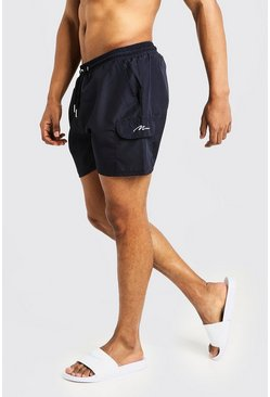 Mens Navy Mid Length Cargo MAN Swim Shorts