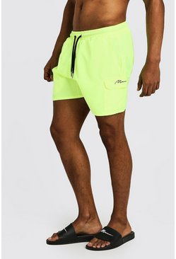 Mens Neon-yellow Mid Length Cargo MAN Swim Shorts