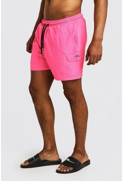 Mens Neon-pink Mid Length Cargo MAN Swim Shorts