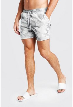 Mens Camo Cargo Mid Length Swim Shorts