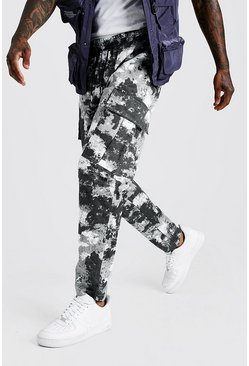 Mens Grey Camo Elongated Draw Cord Cargo Trouser