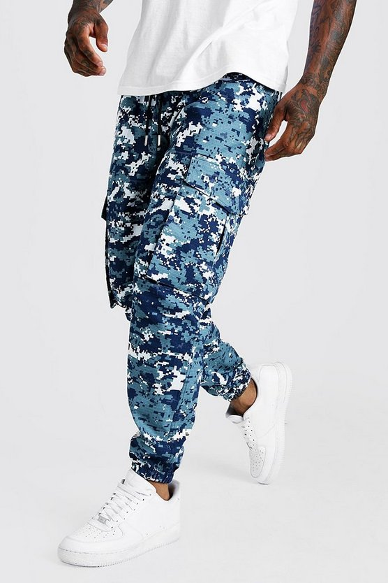 Mens Blue Pixilated Camo Cargo Jogger Trouser