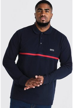 Mens Navy Big & Tall Polo With Tape Detail