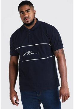 Mens Navy Big & Tall Polo With 3D MAN Script Embroidery