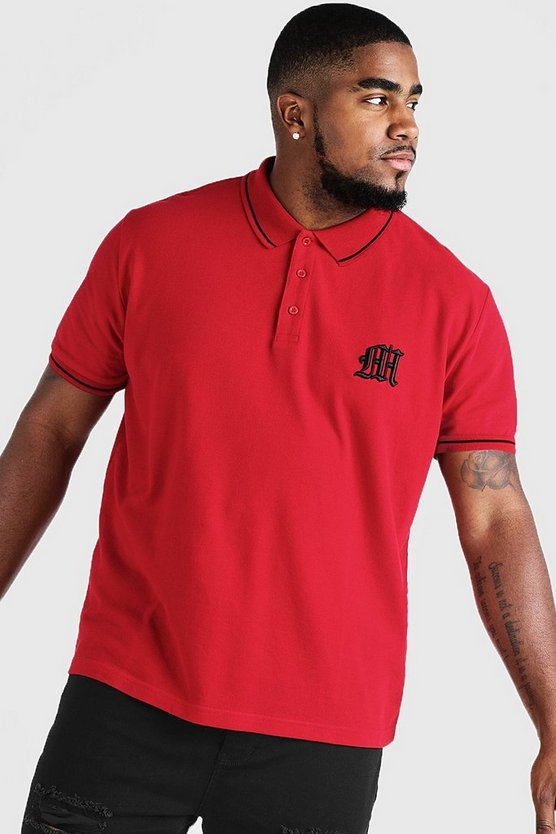 Mens Red Big & Tall Polo With 3D Embroidered M