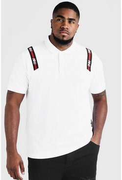 Big & Tall Polo With MAN Tape, White, HOMMES