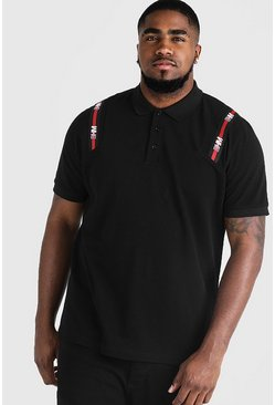 Mens Black Big & Tall Polo With MAN Tape