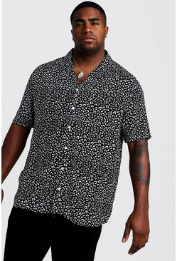 Mens Black Big & Tall Revere Collar Leopard Print Shirt