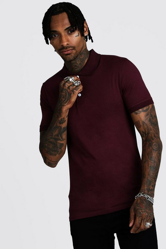 Burgundy Muscle Fit Jersey Polo