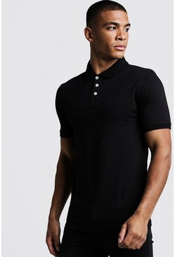 Polo en jersey coupe Fit, Noir