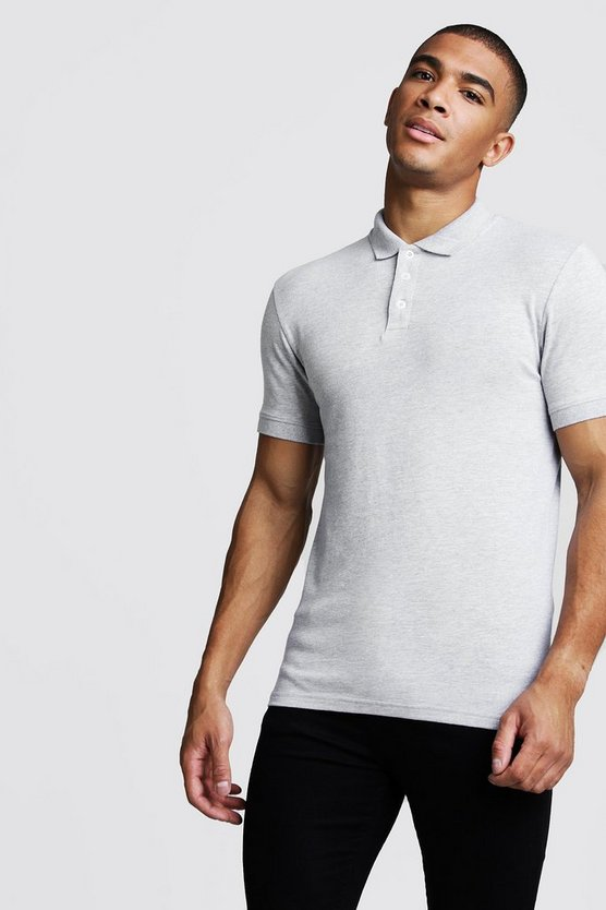 Muscle Fit Jersey Polo by Boohoo Man