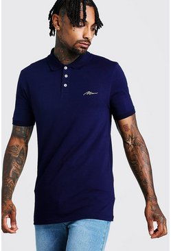 Muscle-Fit Poloshirt aus Jersey Polo mit MAN-Stickerei, Marineblau