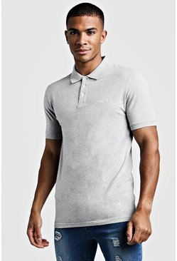 Polo coupe Fit en jersey MAN Signature, Gris