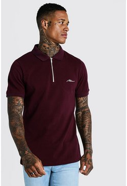 Mens Burgundy MAN Signature Pique Zip Placket Polo