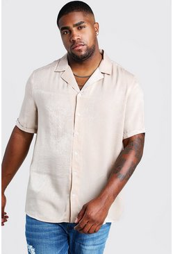 Mens Ecru Big & Tall Revere Collar Crepe Shirt