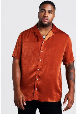 Mens Rust Big & Tall Revere Collar Crepe Shirt