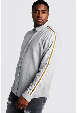 Mens Pale grey Big & Tall Melange Shirt With Side Tape