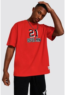 Oversized Ofcl Man Varsity T-shirt, Red