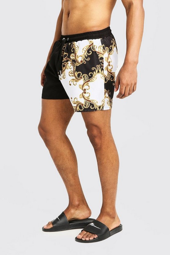 Mens White Baroque Spliced Short Length Swim Short
