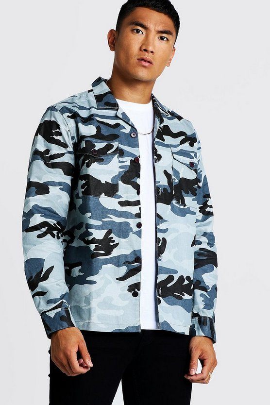 Mens Grey Camo Twill Utility Button Through Shacket