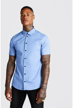 Mens Blue Muscle Fit Short Sleeve Shirt
