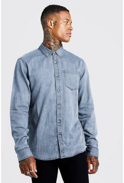Mens Grey Slim Fit Denim Shirt With Horn Buttons