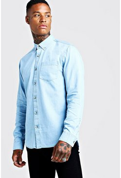 Mens Blue Slim Fit Denim Shirt With Horn Buttons