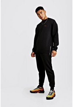 Mens Black MAN Longline AW19Slim Fit Tracksuit with Side Zips
