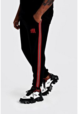 Mens Black Big & Tall Velour Jogger With Side Tape
