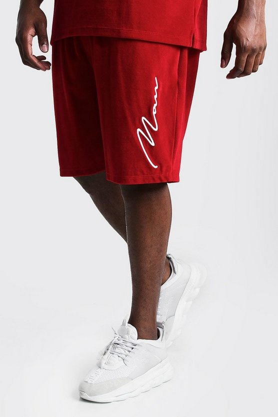 Mens Red Big & Tall Velour Shorts 3D MAN Embroidery