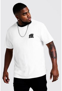 Mens White Big & Tall Velour T-Shirt With 3D Embroidered M