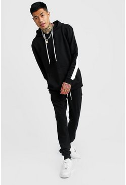 Mens Black Hooded Tracksuit With Contrast Side Panels