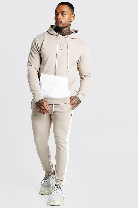 Mens Taupe Hooded Tracksuit With Contrast Panels