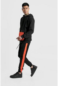 Mens Black Hooded Tracksuit With Contrast Panels