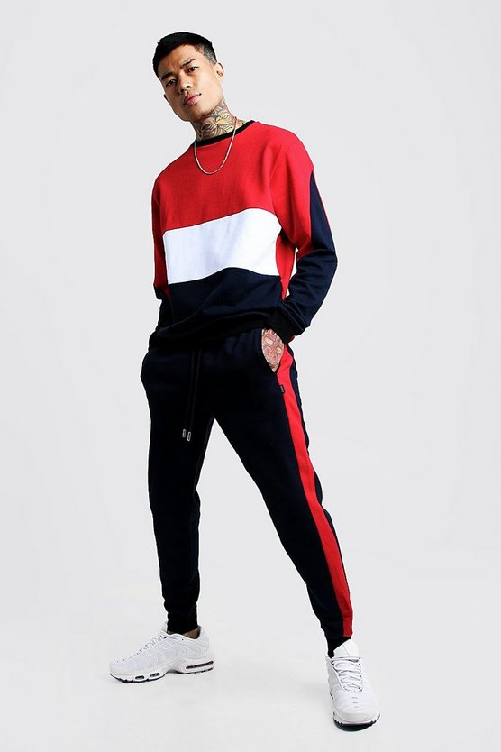 Mens Navy Colour Block Sweater Tracksuit