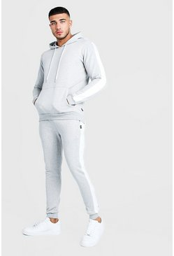 Mens Grey Hooded Tracksuit With Contrast Side Panel