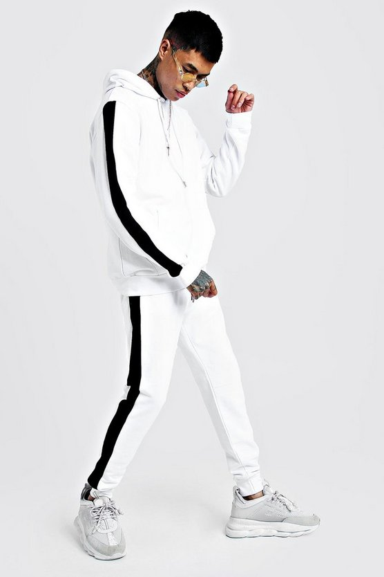 Mens White Hooded Tracksuit With Contrast Side Panel