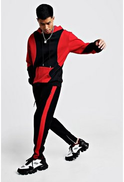 Mens Black Colour Block Hooded Tracksuit