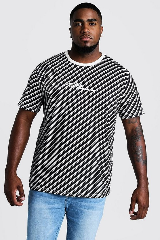 Mens Black Big & Tall Stripe T-Shirt With 3D MAN Embroidery