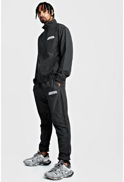 Mens Charcoal MAN Funnel Neck Regular Fit Shell Tracksuit