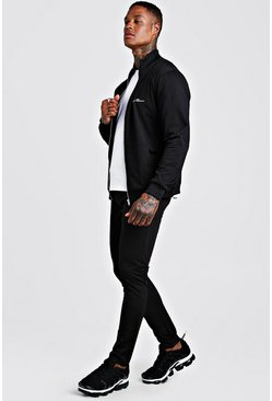 Mens Black Tricot MAN Funnel Neck Skinny Fit Tracksuit