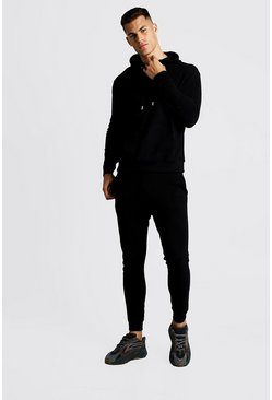 Mens Black Pique MAN Hooded Skinny Fit Tracksuit