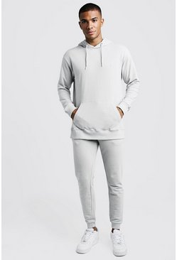 Mens Grey Pique MAN Hooded Slim Fit Tracksuit