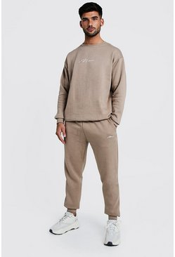 Mens Taupe MAN Loose Fit Sweater Tracksuit