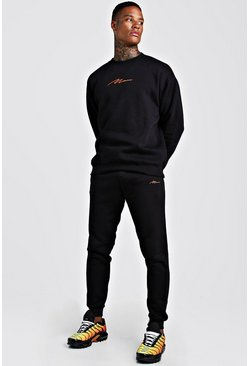 Mens Black MAN Loose Fit Sweater Skinny Jogger Tracksuit